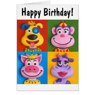 Four Animal Faces Greeting Cards