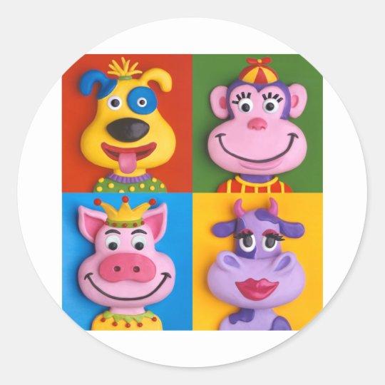 Four Animal Faces Classic Round Sticker