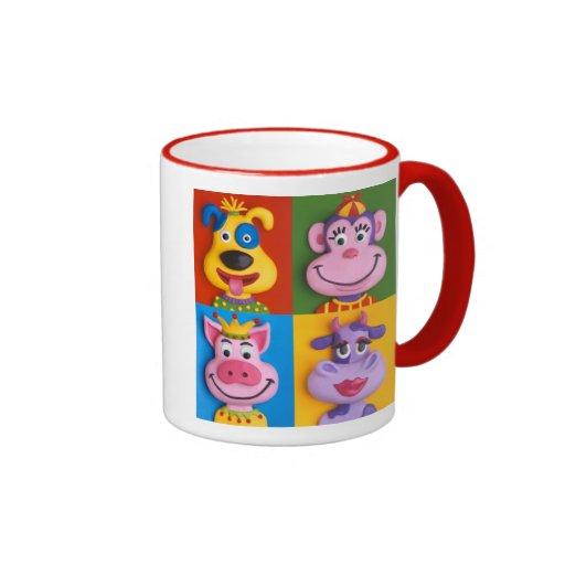 Four animal faces coffee mugs zazzle for Animal face mugs