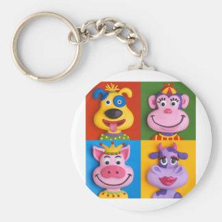 Four Animal Faces Keychain