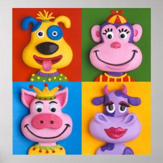 Four Animal Faces Kid's Room Nursery Poster