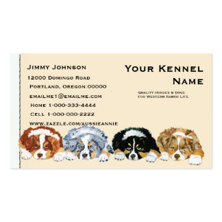 Four Australian Shepherd Puppies Double-Sided Standard Business Cards (Pack Of 100)
