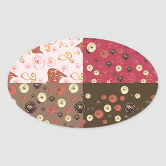Four background in one oval sticker
