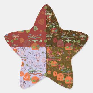 Four background in one star sticker