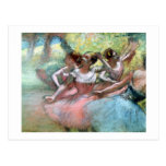 Four ballerinas on the stage (pastel) postcard