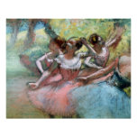 Four ballerinas on the stage (pastel) poster