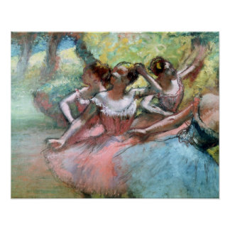Four ballerinas on the stage (pastel) posters