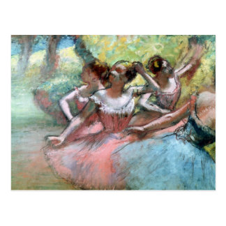 Four ballerinas on the stage post card