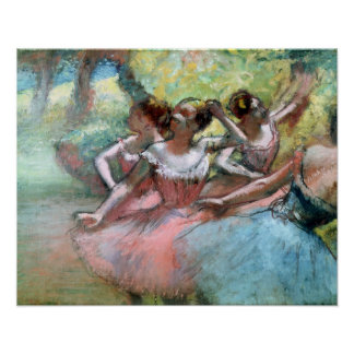 Four ballerinas on the stage print