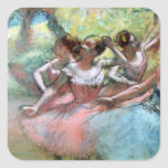 Four ballerinas on the stage square sticker