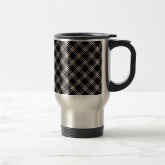Four Bands Small Diamond - Almond on Black Travel Mug