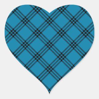 Four Bands Small Diamond - Black on Cerulean Heart Sticker