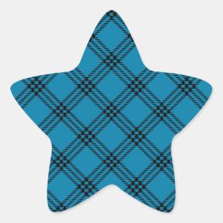 Four Bands Small Diamond - Black on Cerulean Star Sticker