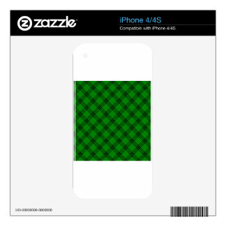 Four Bands Small Diamond - Black on Green Skin For iPhone 4