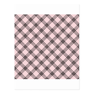 Four Bands Small Diamond - Black on Pale Pink Postcard
