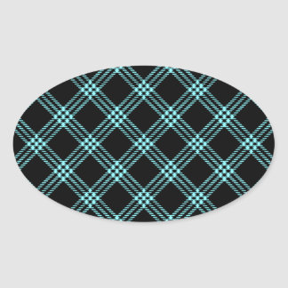 Four Bands Small Diamond - Electric Blue on Black Oval Sticker