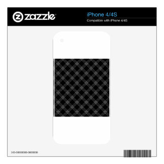 Four Bands Small Diamond - Gray on Black iPhone 4S Skin