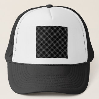 Four Bands Small Diamond - Gray on Black Trucker Hat
