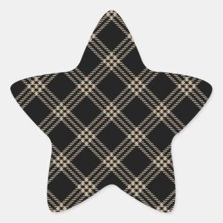 Four Bands Small Diamond - Khaki on Black Star Stickers