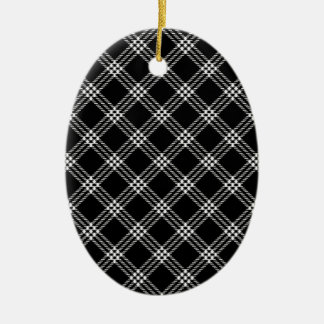 Four Bands Small Diamond - Light Gray on Black Double-Sided Oval Ceramic Christmas Ornament