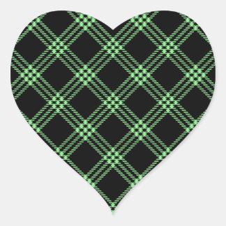 Four Bands Small Diamond - Light Green on Black Heart Sticker