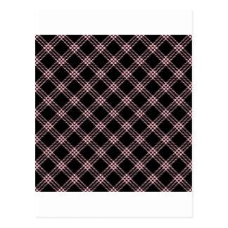 Four Bands Small Diamond - Pink on Black Postcard