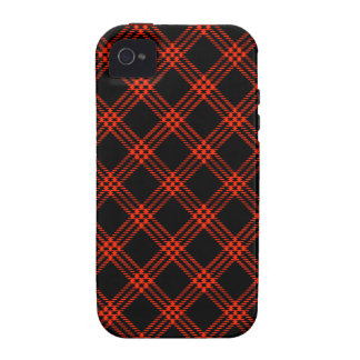 Four Bands Small Diamond - Scarlet on Black iPhone 4/4S Covers