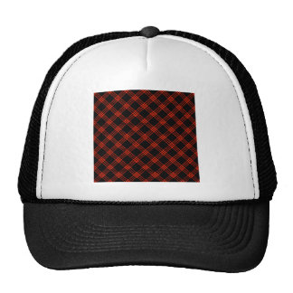 Four Bands Small Diamond - Scarlet on Black Trucker Hat