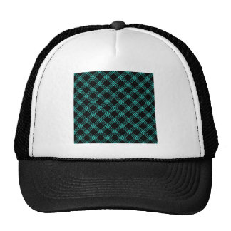 Four Bands Small Diamond - Turquoise on Black Mesh Hats