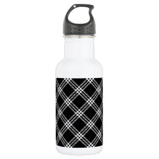 Four Bands Small Diamond - White on Black Water Bottle