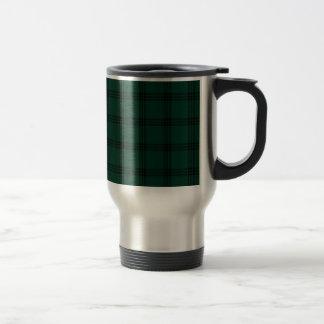 Four Bands Small Square - Black on Dark Green Travel Mug