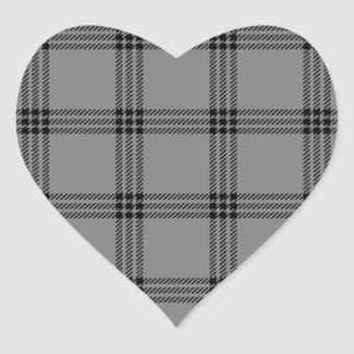 Four Bands Small Square - Black on Gray Heart Sticker