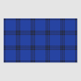 Four Bands Small Square - Black on Imperial Blue Rectangular Sticker