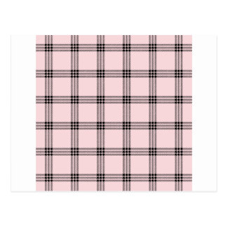 Four Bands Small Square - Black on Pale Pink Postcard