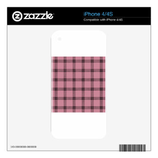 Four Bands Small Square - Black on Puce iPhone 4S Decals