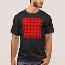 Four Bands Small Square - Black on Red T-Shirt