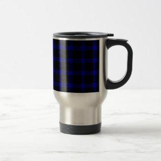 Four Bands Small Square - Blue on Black Travel Mug