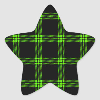Four Bands Small Square - Bright Green on Black Star Sticker