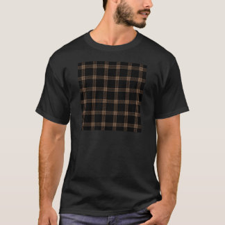 Four Bands Small Square - Cafe au Lait on Black T-Shirt