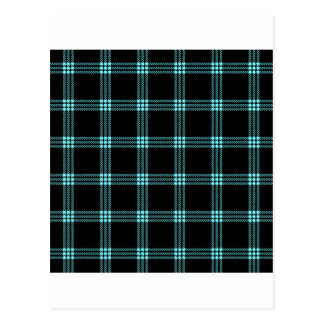 Four Bands Small Square - Electric Blue on Black Postcard
