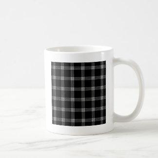 Four Bands Small Square - Light Gray on Black Coffee Mug
