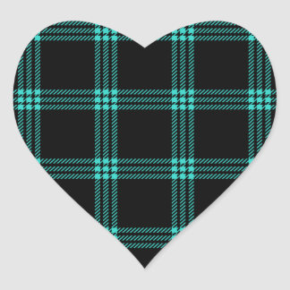 Four Bands Small Square - Turquoise on Black Heart Sticker