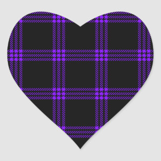 Four Bands Small Square - Violet on Black Heart Sticker