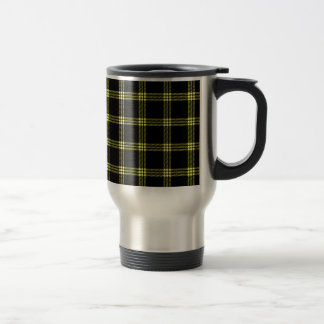 Four Bands Small Square - Yellow on Black Travel Mug
