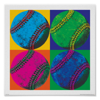 Four Baseballs in Different Colors Poster