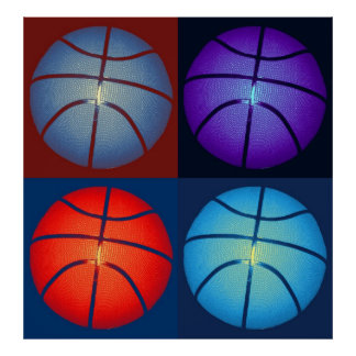 Four Basketball Pop Art Poster
