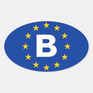 """FOUR Belgium """"B"""" European Union Flag Oval Sticker"""