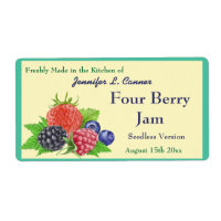 Four Berry Jam or Preserves Canning Jar Label