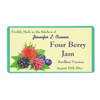 Four Berry Jam or Preserves Canning Jar Label