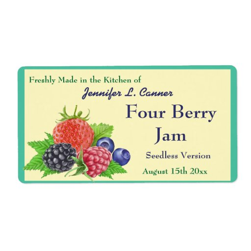 Four Berry Jam or Preserves Canning Jar Labels